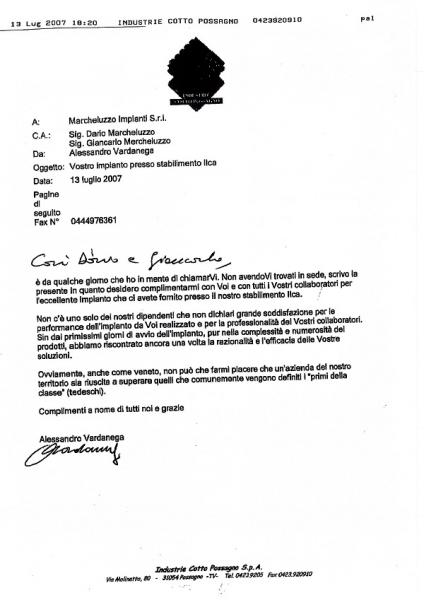 Customer satisfaction letter by Industrie Cotto Possagno